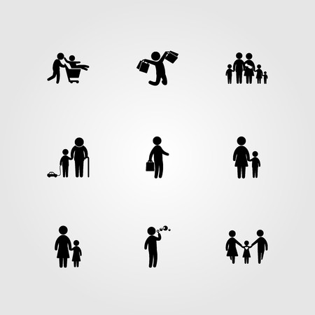 Humans icon set includes child, grandson, mother and big family.