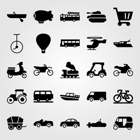 Transport vector icon set includes bicycle, fire truck, tractor and tank. Vettoriali