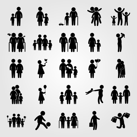 Humans icon set includes old man, elderly, mother with son and boy.