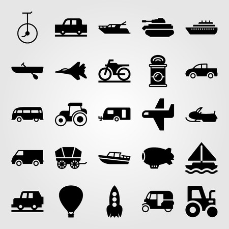 Transport vector icon set includes truck, sailboat, caravan and tank.