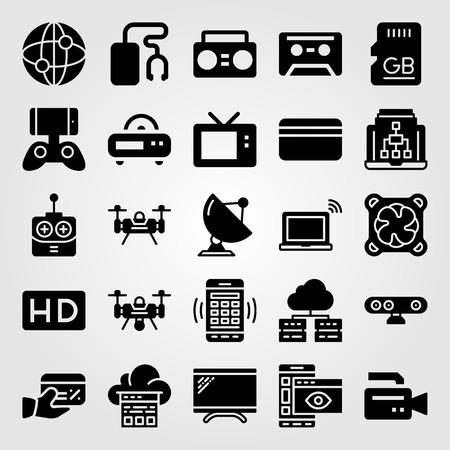 Technology icon set includes drone, video camera, cloud computing and laptop. Illustration