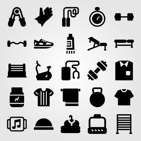 Fitness vector icon set. Hardlopen, waterkokerbel, shirt en hometrainer. Stock Illustratie