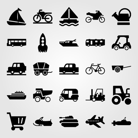Transport vector icon set. Forklift, rocket, golf car and airplane. Vettoriali