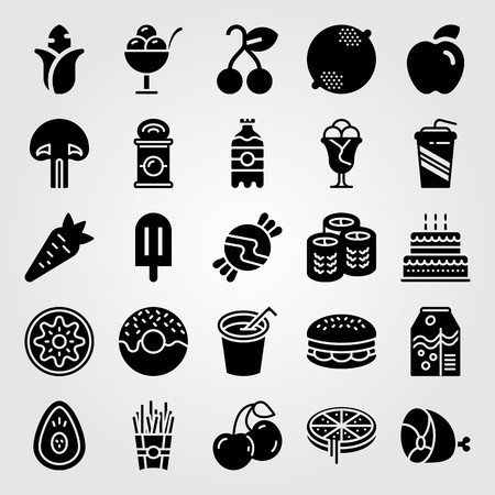 Food and drinks vector icon set. Cherry, burger, avocado and juice.