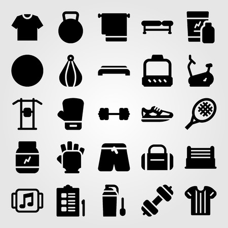 Fitness vector icon set includes bike, towel, ring and music player. Illustration