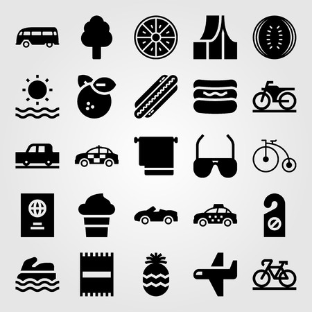 Summertime vector icon set includes ice cream, towel, watermelon and bicycle.