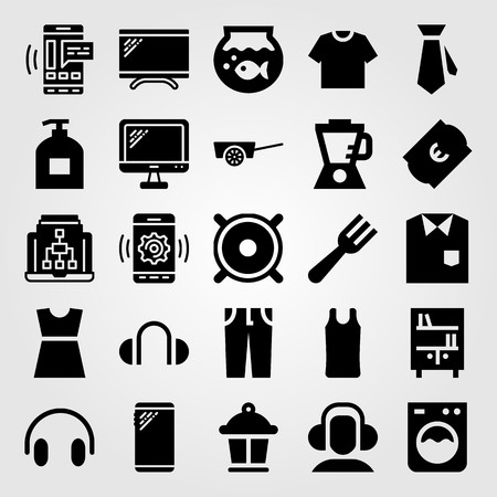 Shopping vector icon set. Monitor, fork, fish bowl and smartphone. Çizim