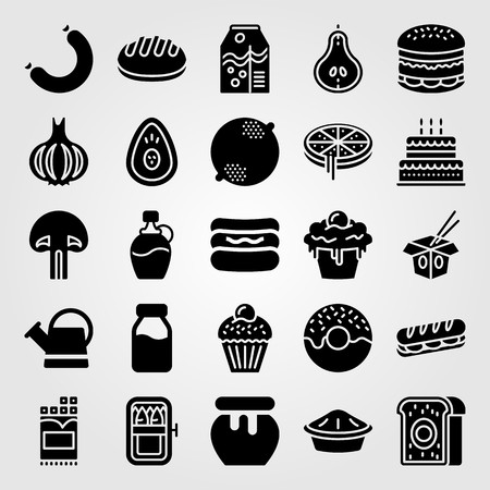 Food and drinks vector icon set. Cake, bread, noodles and pear.