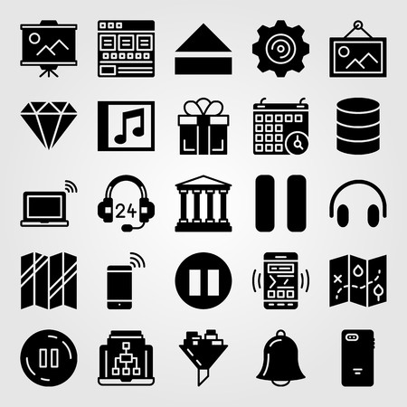 Essentials icon set vector. Calendar, laptop, browser and database.