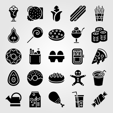 Food And Drinks icon set includes chicken leg, eggs, french fries and ginger bread man. Illustration