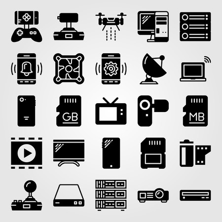 Technology icon set includes joystick, television, cooler and camera. Illustration
