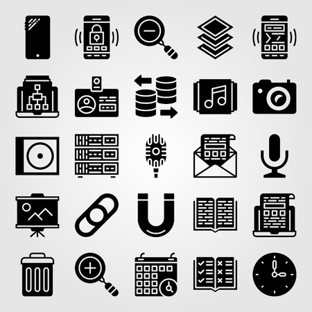 Essentials icon set vector. Magnet, presentation, mail and wall clock.