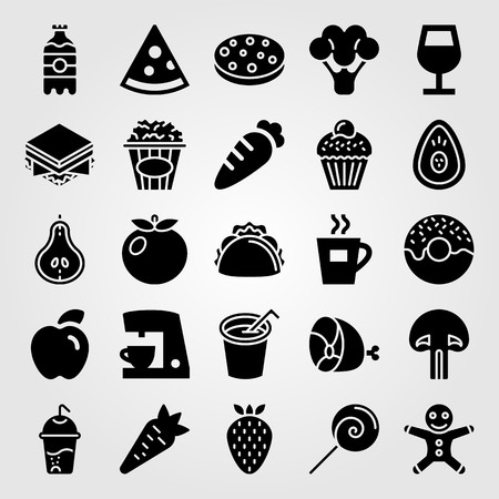 Food and drinks vector icon set. Tea, tomato, meat and lollipop.