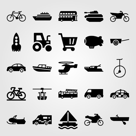 Transport vector icon set includes motorcycle, zeppelin, unicycle and fire truck.