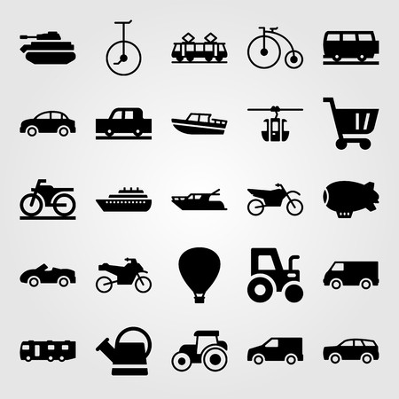 Transport vector icon set includes cart, sport bike and motorbike.
