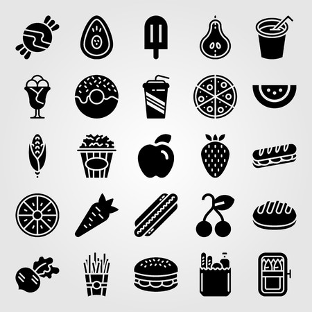 Food And Drinks vector icon set includes bread, avocado and groceries. Çizim