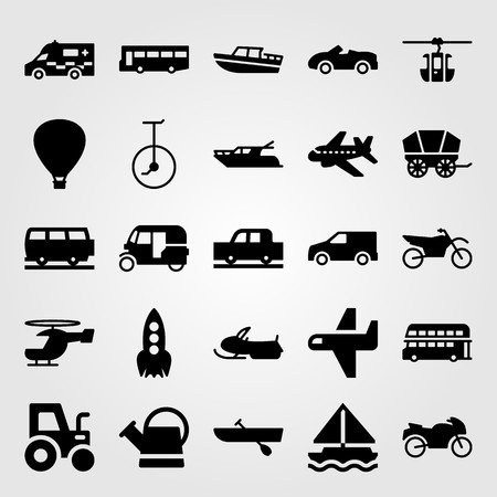 Transport vector icon set includes yatch, aeroplane, air balloon and sport car. Vettoriali