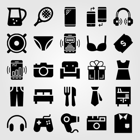 Shopping vector icon set includes knickers, cutlery, bed and smartphone. Иллюстрация