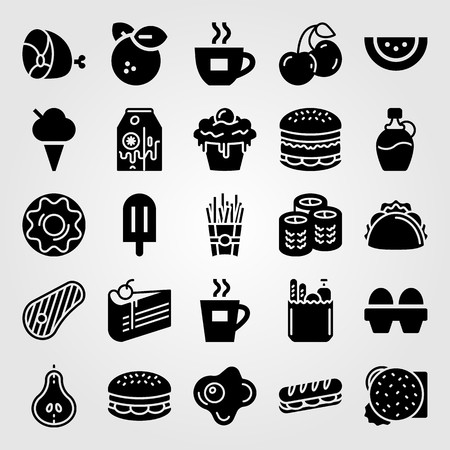Food and drinks vector icon set. French fries, cupcake, fried egg and tea. Çizim