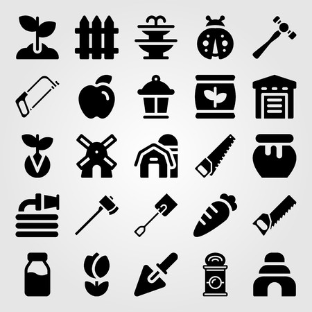 Garden icon set vector. Honey, lamp, sprout and barn. Illustration