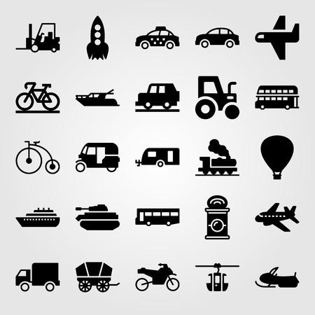 Transport vector icon set. Rocket, ship, forklift and tank.