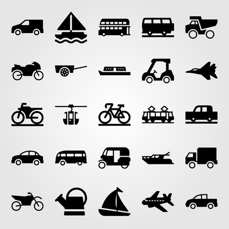 Transport vector icon set. Tram, golf car, pickup truck and sailboat.