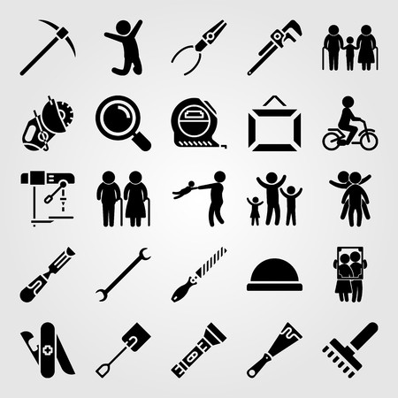 Tools icon set includes father, love, pliers and spade.