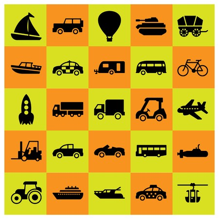 Transport icon set includes tank, car, van.