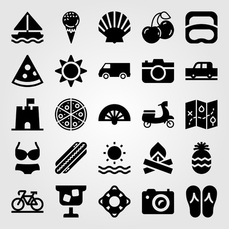 Summertime vector icon set includes ice cream, cocktail, motorbike and photo camera.