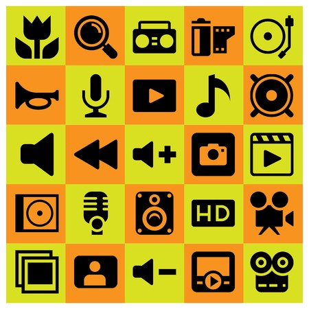 Multimedia icon set vector. mic, volume, compact disk and boombox