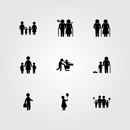 Humans icon set vector. Old woman, grandson, woman with balloon and business.