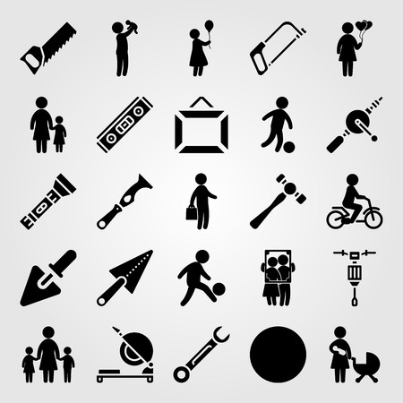 Tools icon set includes son, ball, football and trowel.