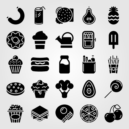 Food And Drinks vector icon set. cookie, cherries, groceries and burger Ilustracja