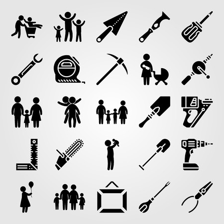Tools icon set vector. Woman, two children playing, drill and scraper.