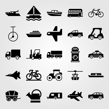Transport vector icon set. Tractor, jet, golf and watering can. Çizim
