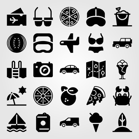 Summertime vector icon set. Drink, truck, photo camera and car.