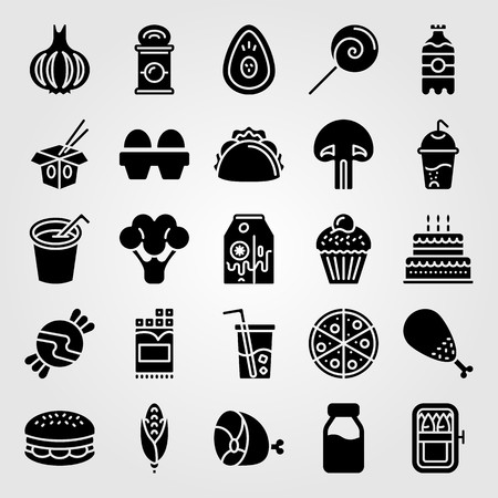 Food and drinks icon set vector. Cake, noodles, meat and drink.