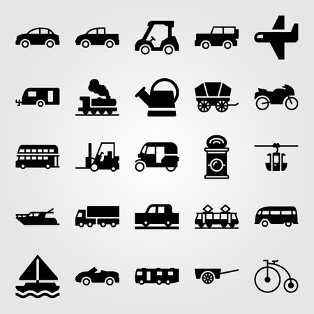 Transport vector icon set includes cable car cabin, tram, airplane and golf.