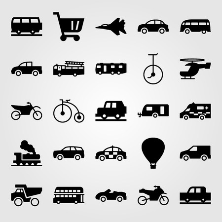 Transport vector icon set. Dumper, ambulance, sport car and truck.