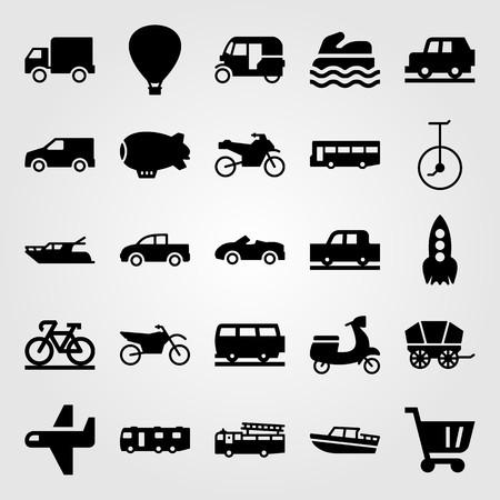 Transport vector icon set. yatch, car, sport bike and tuk tuk Vettoriali