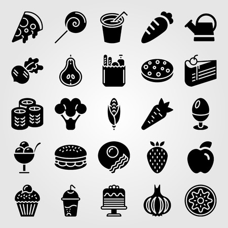 Food And Drinks icon set vector. ice cream, breakfast, piece of cake and broccoli