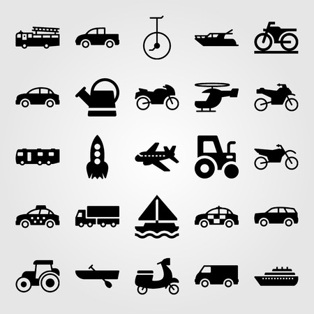 Transport vector icon set. motorcycle, lorry, helicopter and boat Vettoriali