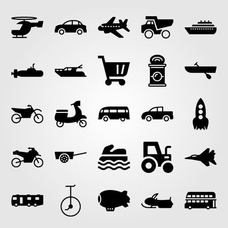 Transport vector icon set. Snowmobile, pickup truck, submarine and motorcycle.