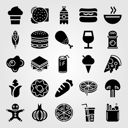 Food And Drinks vector icon set. soup, garlic, chicken leg and can Illustration