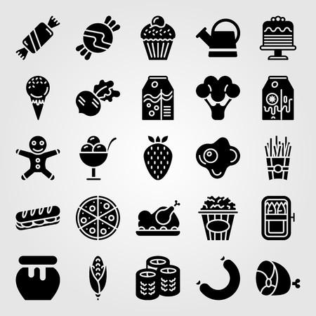 Food And Drinks icon set includes strawberry, banana milk, radish and ham.