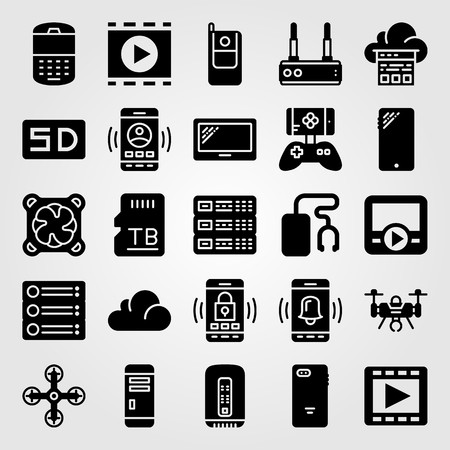 Technology vector icon set. server, pc case, cloud computing and phone