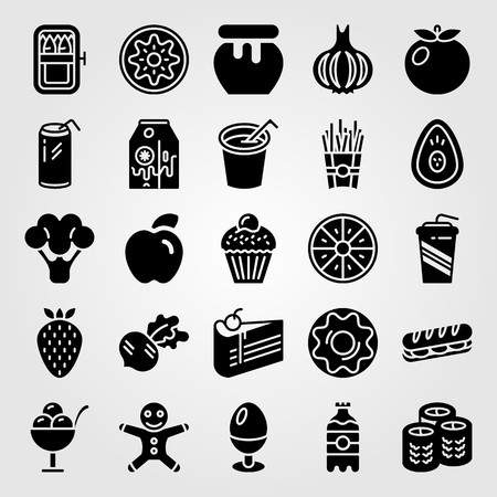 Food And Drinks icon set vector. Cupcake, ice cream, avocado and broccoli. Çizim