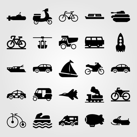 Transport vector icon set includes train, cable car cabin, police car.
