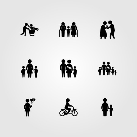 Humans icon set vector. big family, children, love and grandfather