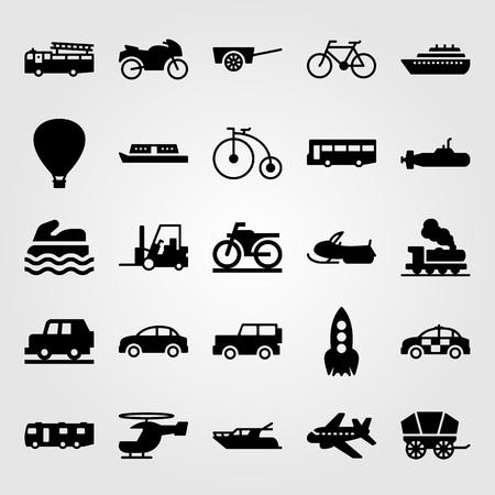 Transport vector icon set. submarine, sport bike, car and jeep Vettoriali